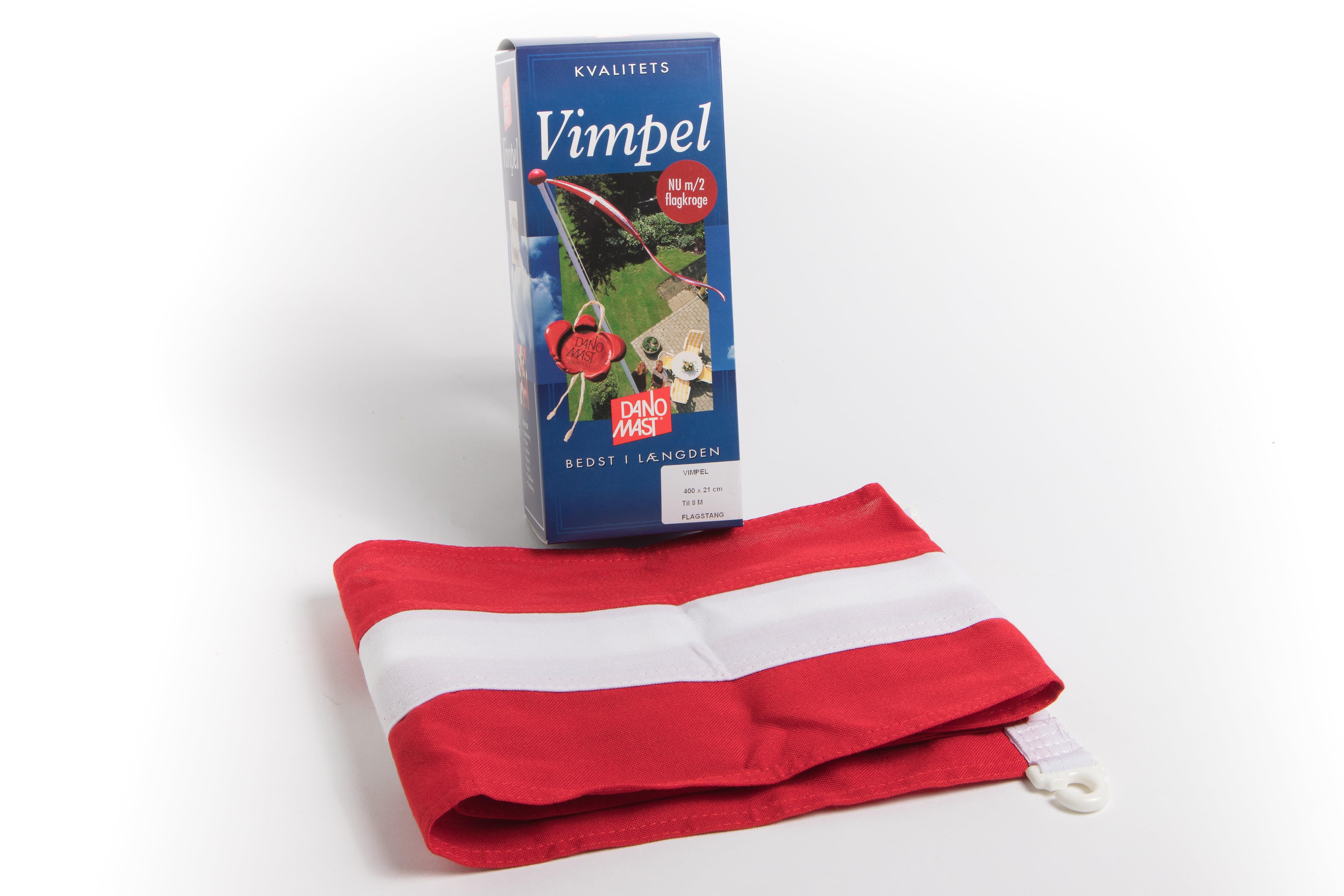 Splinterny Vimpel til flagstang - Kvalitets vimpler med flagclips i kantbåndet SW39